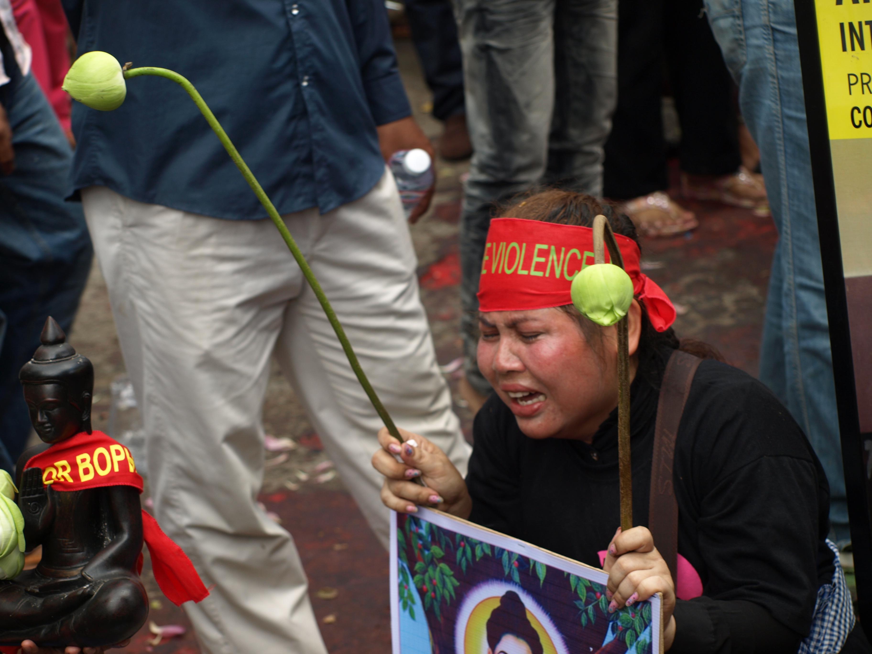 One of Yorm Bopha's supporters (Credit photo: Destination Justice/Edward Gough)