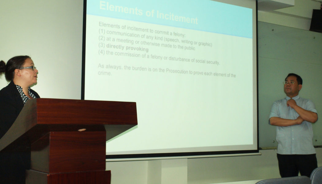 Training Workshop on Ways to Defend Defamation and Incitement Charges