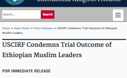 L'USCIRF condamne l'issue du procès des leaders musulmans éthiopiens